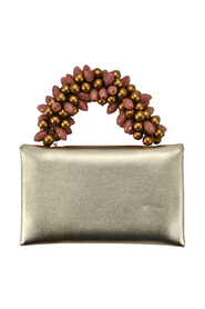 KING CARLO CLUTCH IN GOLD PINK SATIN GOLD