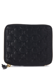 Black leather wallet with four-leaf clover pattern