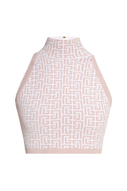 Crop top with standing collar