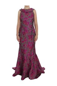 Floral Brocade Sheath Gown Dress