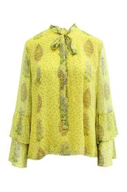 Yellow Print Silk Blouse