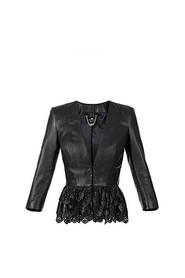 LEATHER JACKET M 3-4 RUFFLE