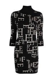 BLACK BUTTER KNITTED DRESS