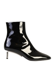patent finish ankle boots