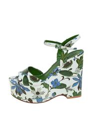 Floral Print Leather Ankle Strap Wedge Sandals