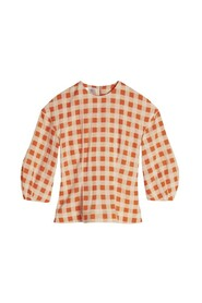 Bell Sleeve Gingham Check Top