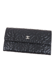 Camellia Leather Long Wallet