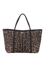 Leopard Print Leather Tote Bag