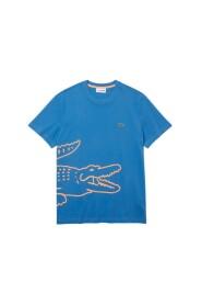 Camiseta con estampado de cocodrilo y cuello redondo