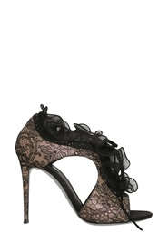 SATIN SANDALS WITH RUCHES