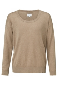 YAYA - Cashmere Blen Knitted Sweater with raw edges - Beige Melange