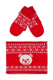 Neck Warmer and Gloves Set with Teddy Bear