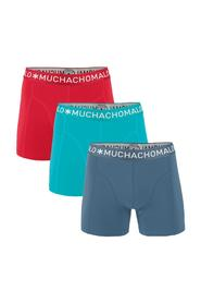 Muchachomalo 3-pack boxershorts solid rood/blauw/antraciet -S