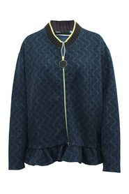 Navy Blue Printed Jacket with Zipper