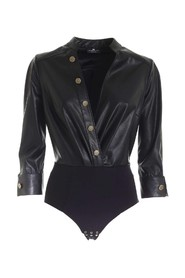 Faux leather bodysuit with buttons