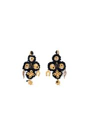 Tricot,Beads & Gold Charms Earrings