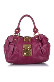 Vitello Lux Bauletto Aperto Leather Satchel