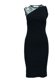 Slim Fit Black Dress with Lace