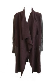 Cardigan with lambskin sleeves