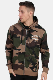 Defend Paris Hoodie Capuche Zip Camo Tan