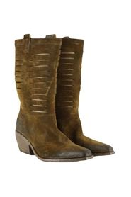 women's brown 3/4 Texan ankle boots with cuts