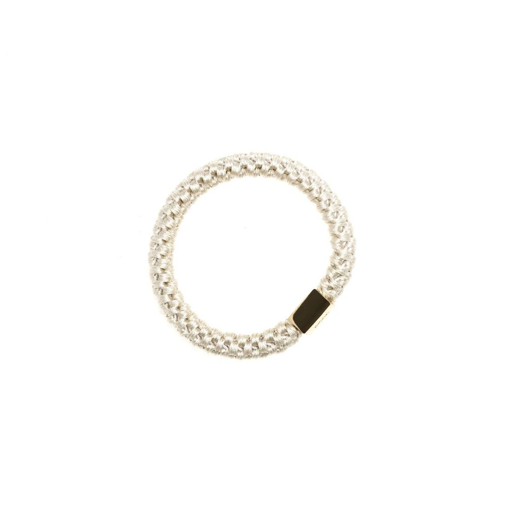 FAT HAIR TIE SAND W. GOLD PLATE