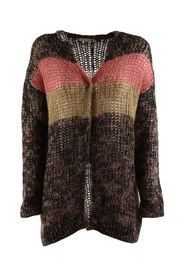 women's brown cardigan with stripe