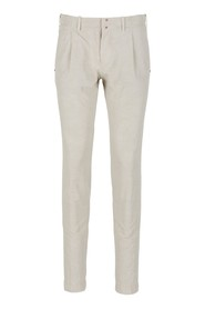 Cotton and linen slim fit trousers