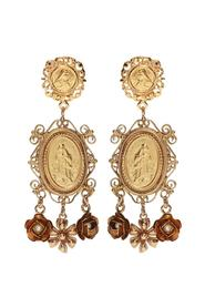 Floral motif clip-on earrings