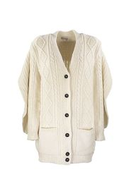 WOOL BLEND MAXI CARDIGAN WITH RUFFLE DETAIL