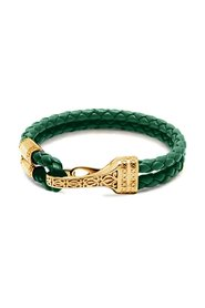 Men's Green Leather Bracelet with Gold Bali Clasp Lock