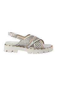 Sandal in perforated leather