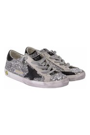 Glitter leather Superstar laced sneakers