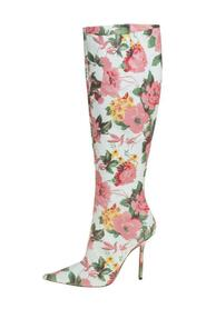 Floral Print Leather Over The Knee Boots