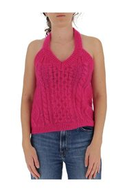 Cable-knit halterneck top