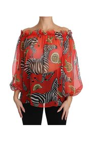 Zebra Print Silk  Off Shoulder Blouse