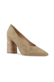 Suede Court Shoes with Wooden Heel