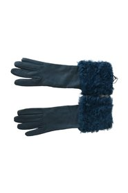 Mid Arm Leather Shearling Fur Gloves