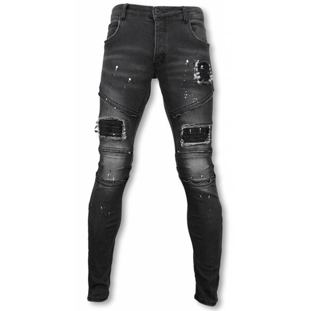 Slim Fit Zipped Biker Jeans Med Paint Drops