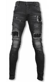 Slim Fit Zipped Biker Jeans With Paint Drops