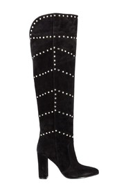 Velor boots with studs