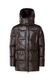 Puffer hooded coat shiny brown