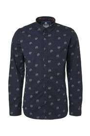 Noize Shirt, l/s, all over printed dog  Lange mouw Blauw