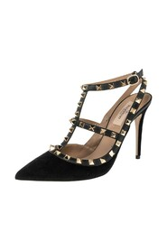 Pre-owned Suede And Leather Rockstud  Ankle Strap Sandals