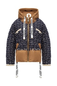 Puffer jacket with woven sleeves