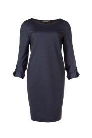 Juffrouw Jansen JOKE W18 O-lijn jurk met strik detail Denim melange