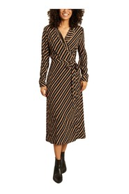 Ranya striped wrap midi dress