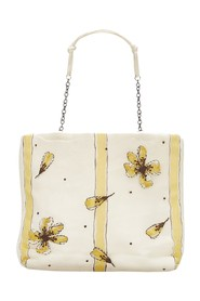 Striped Floral Silk Tote Bag