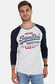 Superdry Premium Goods Raglan L/S T-shirt Grey/Montana Blue