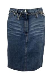 Denim Pencil Skirt with Chain Belt
